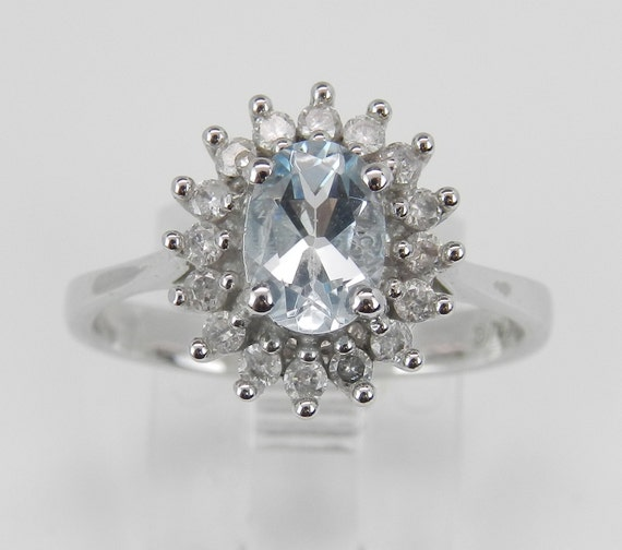 Diamond and Aquamarine Halo Engagement Ring White Gold Size 7 March Birthstone FREE Sizing