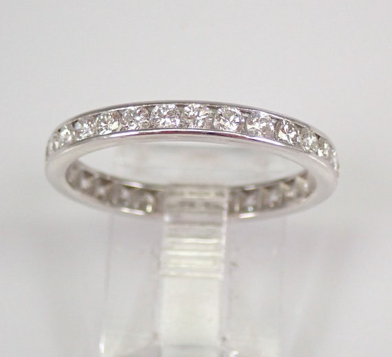 PLATINUM 3/4 ct Diamond Eternity Wedding Ring Anniversary Band Size 7.75