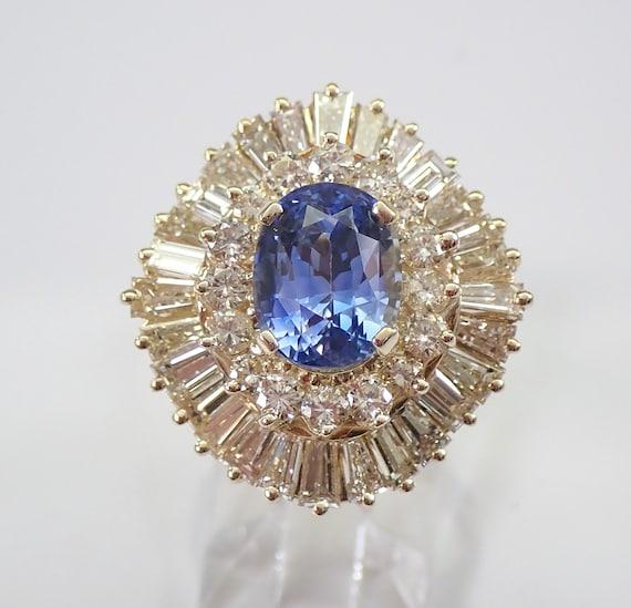 14K Yellow Gold 5.72 ct Diamond and Tanzanite Engagement Ring Size 6 Ballerina Design FREE Sizing