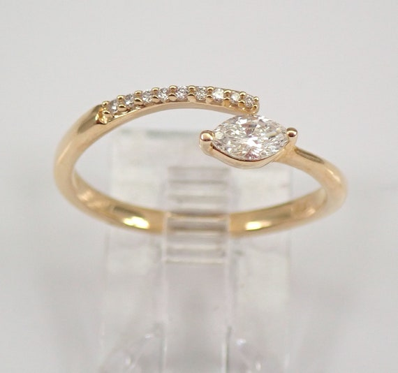 Yellow Gold Marquise Diamond Wraparound Engagement Ring Size 6.5 Minimalist Jewelry FREE Sizing