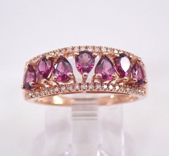 Diamond and Rhodolite Garnet Wedding Ring Anniversary Band Rose Gold Size 6.75 January Birthstone FREE Sizing
