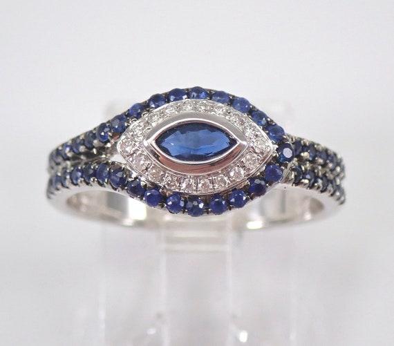 18K White Gold Diamond and Sapphire Evil Eye Ring Size 6.5 FREE Sizing Talisman Good Luck