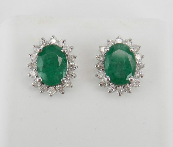 18K White Gold 2.70 ct Emerald and Diamond Stud Earrings Halo Studs May Gemstone