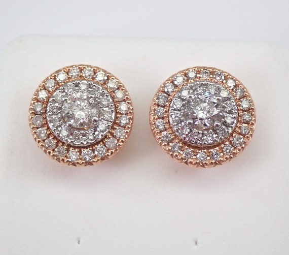 Rose and White Gold 1.00 ct Diamond Studs Round Double Halo Stud Earrings