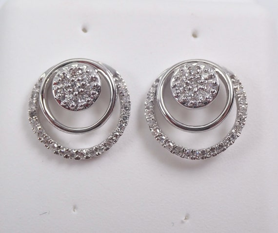 White Gold Diamond Studs Cluster Stud Earrings Modern Fashion Studs
