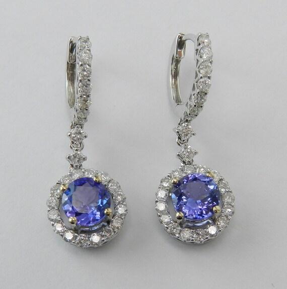 18K White Gold Tanzanite and Diamond Halo Drop Earrings Purple Gemstone 2.45 ct