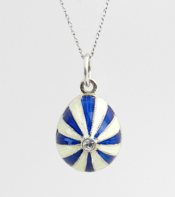 "Sterling Silver White and Blue Enamel Swarovski Crystal Pendant with Chain 18"" Faberge Style Egg"