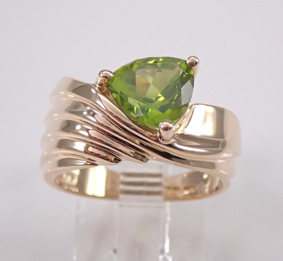Trillion Peridot Solitaire Engagement Ring 14K Yellow Gold Size 6 August Gem Birthstone FREE Sizing