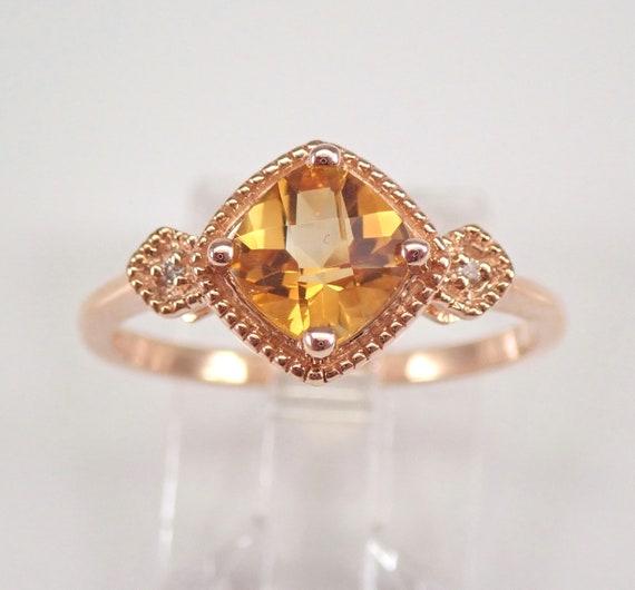 Rose Gold Citrine and Diamond Engagement Ring Size 7 Cushion Cut November Gemstone FREE Sizing