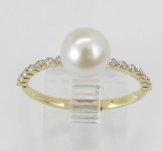 14K Yellow Gold Diamond and Pearl Engagement Ring Promise Ring Size 7 June Birthstone