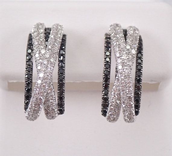 1.00 ct Black and White Diamond Half Hoop Earrings 14K Gold Pave Set Modern Design
