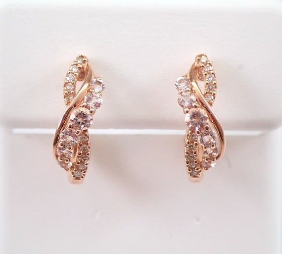 Diamond and Morganite Hoop Earrings Hoops Rose Gold Birthday Graduation Gift