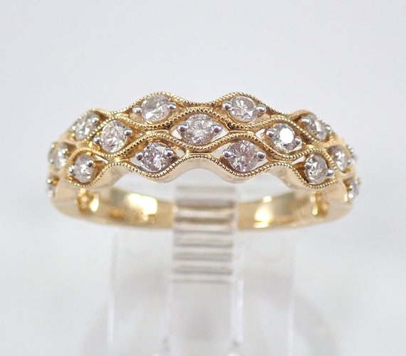 Diamond Wedding Ring Anniversary Band 14K Yellow Gold Stackable 1/2 ct Size 7.25