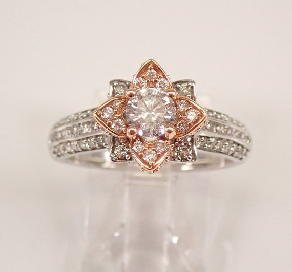 14K White and Rose Gold Diamond Flower Halo Engagement Ring Size 7 FREE SIZING