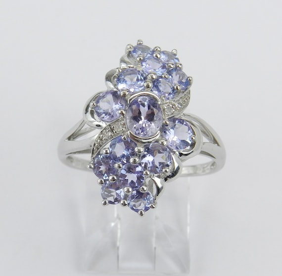 Tanzanite and Diamond Ring, White Gold Cluster Ring, Tanzanite Cocktail Ring, Purple Lavender Gemstone, Size 8.25