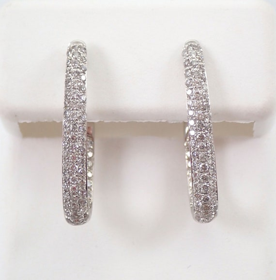14K White Gold 1.00 ct Diamond Hoop Earrings Diamond Hoops In and Out Pave Set