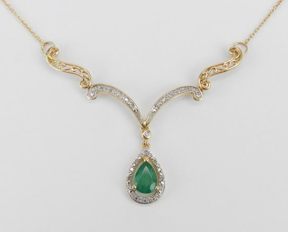 "14K Yellow Gold Emerald and Diamond Necklace Halo Pendant 17"" Chain Wedding Gift"