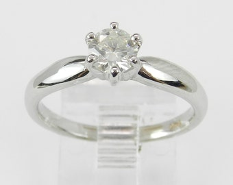 Solitaire Diamond Engagement Ring 14K White Gold Round Brilliant Size 6.25
