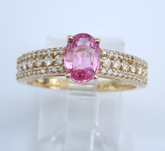 Pink Sapphire and Diamond Engagement Ring Yellow Gold Promise Size 7 FREE Sizing