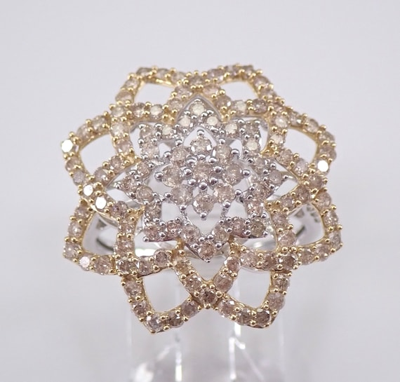 2.00 ct Fancy Yellow and White Diamond Cluster Cocktail Ring Star Design Gold Size 7.25