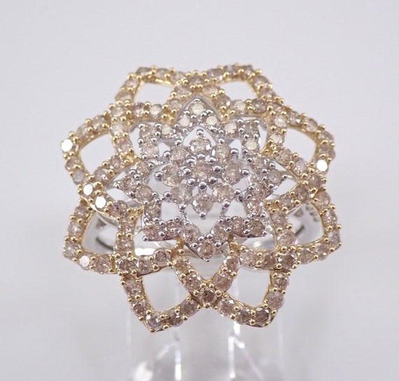 2.00 ct Fancy Yellow and White Diamond Cluster Cocktail Ring Star Design Gold Size 7.25 FREE Sizing