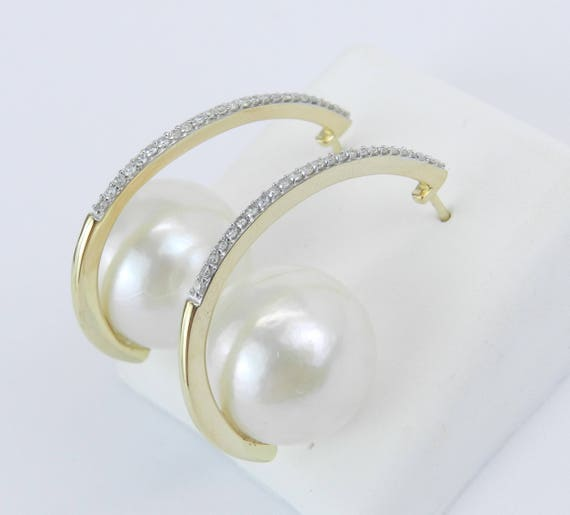 Pearl and Diamond Unique Hoop Earrings 14K Yellow Gold June Birthstone Wedding Gift