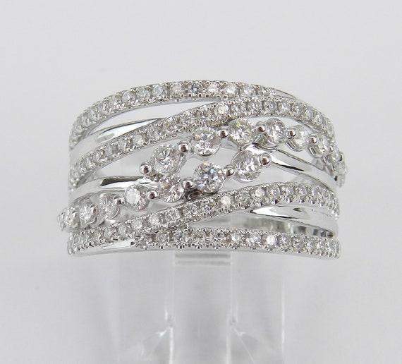 14K White Gold 1.00 ct Diamond Crossover Ring Multi Row Anniversary Band Size 7 FREE Sizing