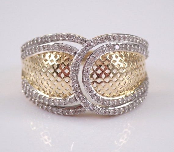 Diamond Cluster Cocktail Anniversary Band Right Hand Ring Yellow Gold Size 7 FREE Sizing