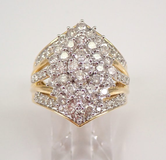 2.00 carat Diamond Cluster Cocktail Ring Right Hand Ring Yellow Gold Size 7 FREE Sizing