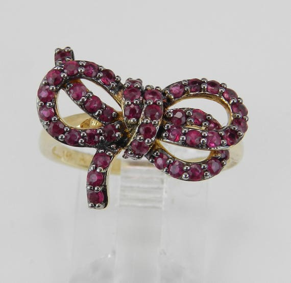 14K Yellow Gold Ruby Bow Tie Cluster Ring Size 7 July Birthstone