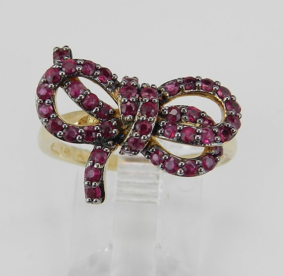 SALE PRICE! 14K Yellow Gold Ruby Bow Tie Cluster Ring Size 7 July Birthstone