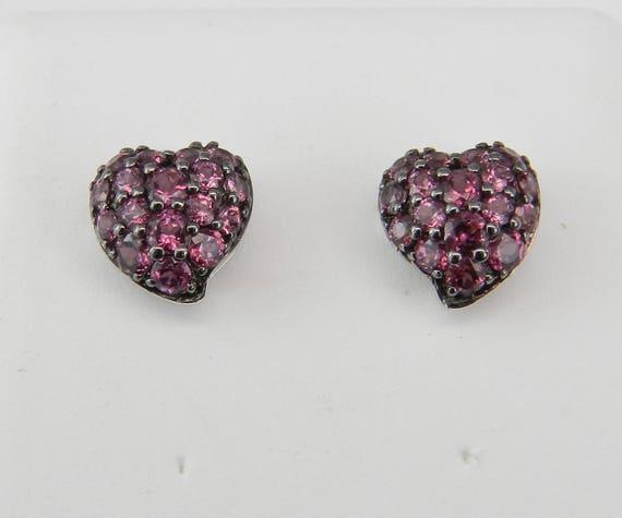Heart studs, Pink Tourmaline Studs, Heart Earrings, Cluster Studs, Gold Earring, 14K White Gold earrings, October Birthstone