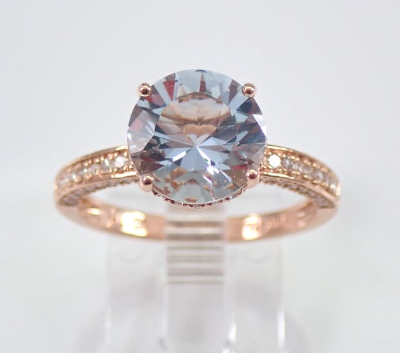 14K Rose Gold Diamond and Aquamarine Engagement 3 ct Aqua Ring Size 7 March Gem FREE Sizing