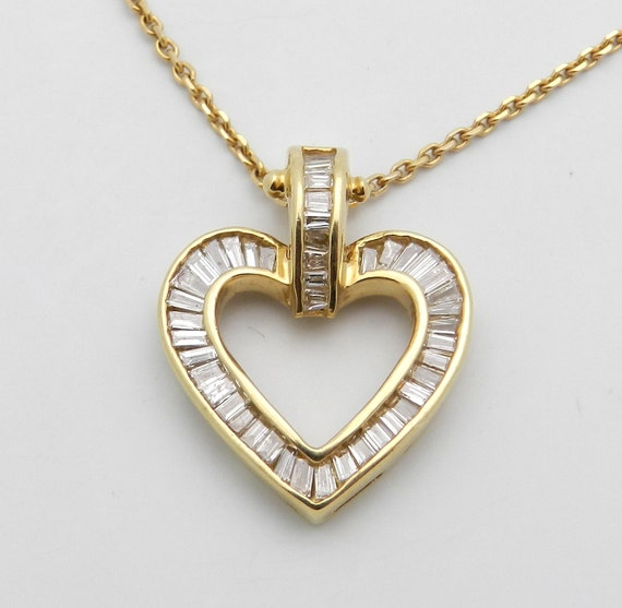 Diamond Heart Pendant 14K Yellow Gold .85 ct Baguette Open Heart Pendant Necklace Chain 16""