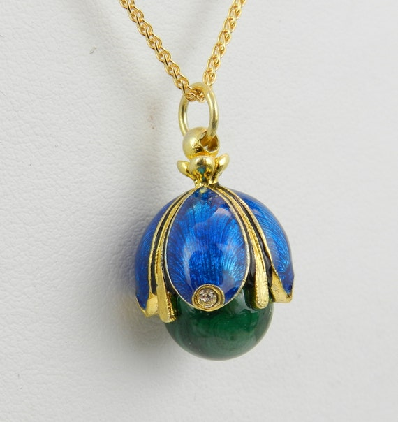 """18K Yellow Gold over Sterling Silver Blue Enamel and Malachite Swarovski Crystal Pendant with Chain 18"""" Faberge Style Egg"""