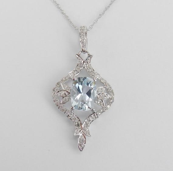 "Antique Style 14K White Gold Diamond Aquamarine Pendant Necklace 18"" Chain Aqua March Gemstone"