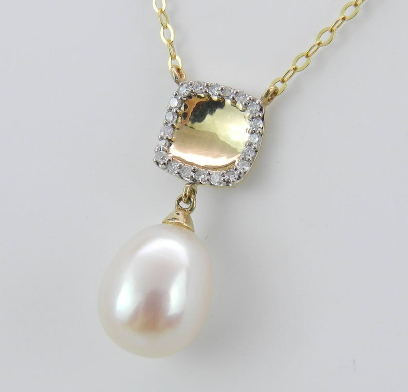 14K Yellow Gold Necklace Diamond and Pearl Pendant Wedding image 0