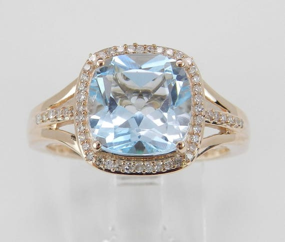 Blue Topaz Ring, Diamond Emerald and Blue Topaz Ring, Halo Engagement Ring, Cushion Cut Blue Topaz Ring, Rose Gold Promise Ring