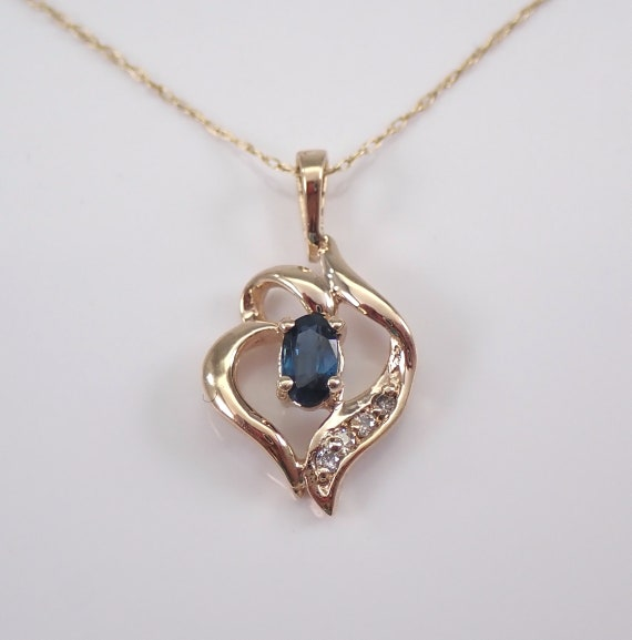 "Vintage Estate Yellow Gold Diamond and Sapphire Pendant Necklace Chain 18"" September Birthstone"