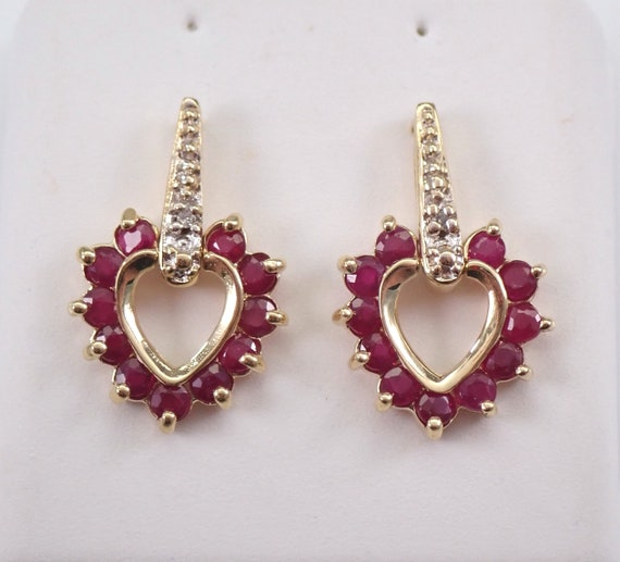 Ruby and Diamond Heart Earrings 14K Yellow Gold Drops July Birthstone