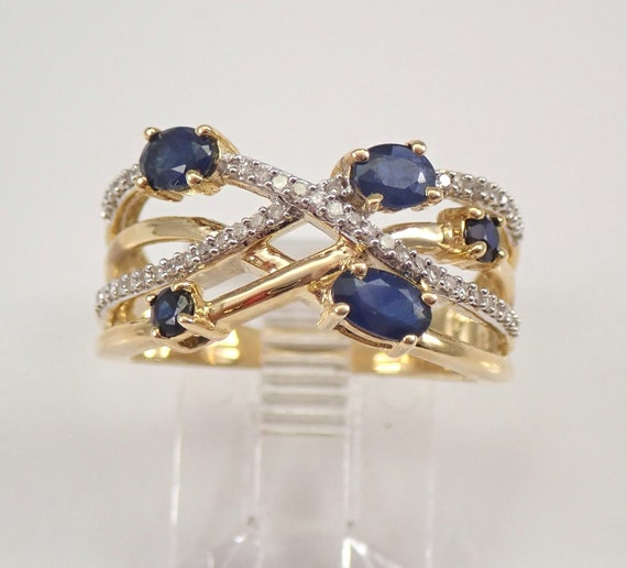 Yellow Gold Diamond Sapphire Crossover Ring Multi Row Band Anniversary Size 7 FREE SIZING