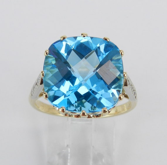 Antique Vintage Diamond and Cushion Cut Blue Topaz Ring 14K Yellow Gold Size 8.25 December Birthstone