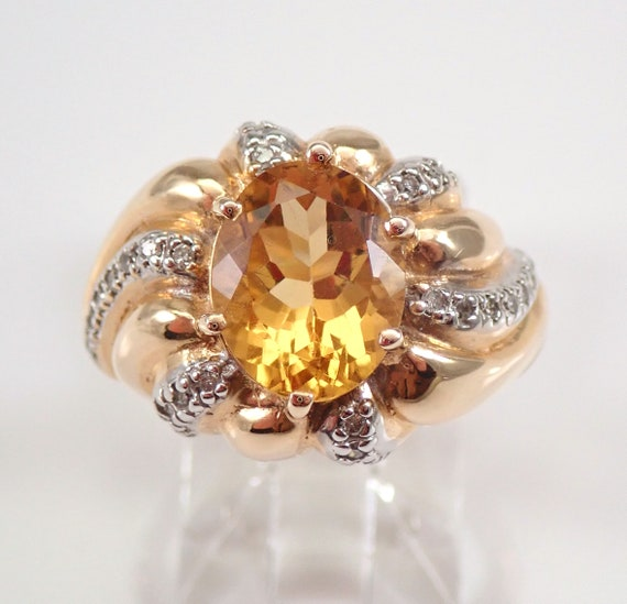 2.25 ct Diamond and Citrine Engagement Ring Yellow Gold Size 7 November Birthstone FREE Sizing