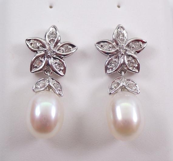 Pearl and Diamond Flower Dangle Drop Earrings 14K White Gold June Birthstone Wedding Gift
