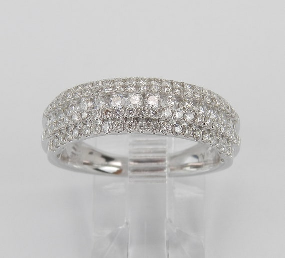 14K White Gold 1.25 ct Diamond Wedding Ring Anniversary Band Stackable Size 7