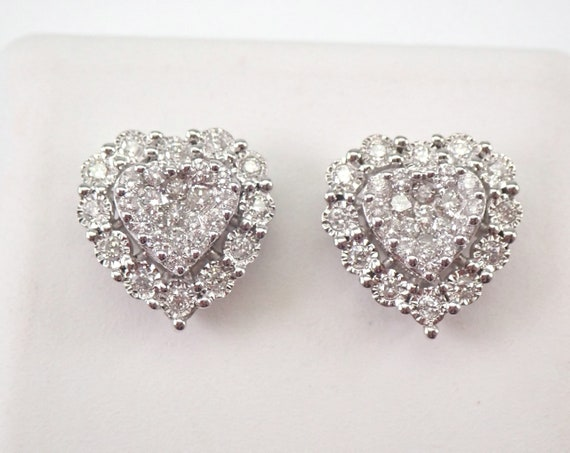 White Gold Diamond Heart Stud Earrings Halo Cluster Studs Unique Wedding Gift
