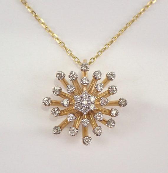 "Yellow Gold Diamond Snowflake Sun Starburst Pendant Cluster Necklace 18"" Chain"