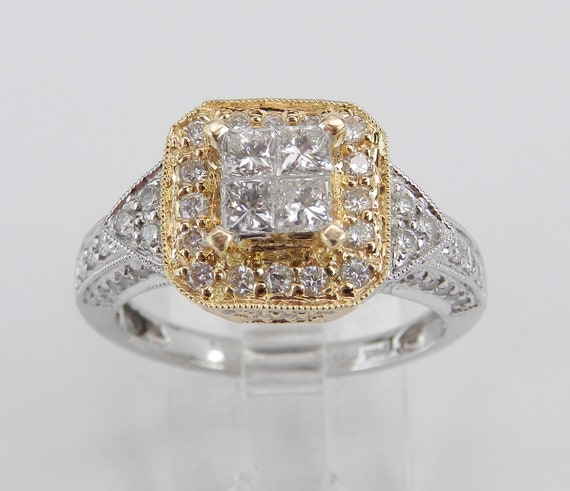 14K White and Yellow Gold 1.25 ct Diamond Engagement Ring Square Cluster Cocktail Size 7