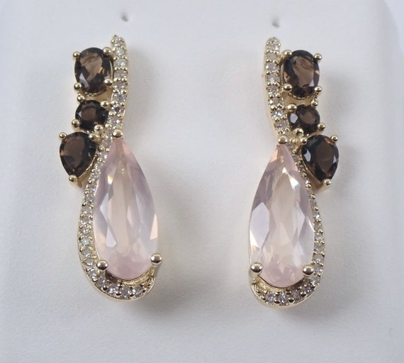 Rose Quartz Smokey Topaz Diamond Drop Earrings Yellow Gold Wedding Gift