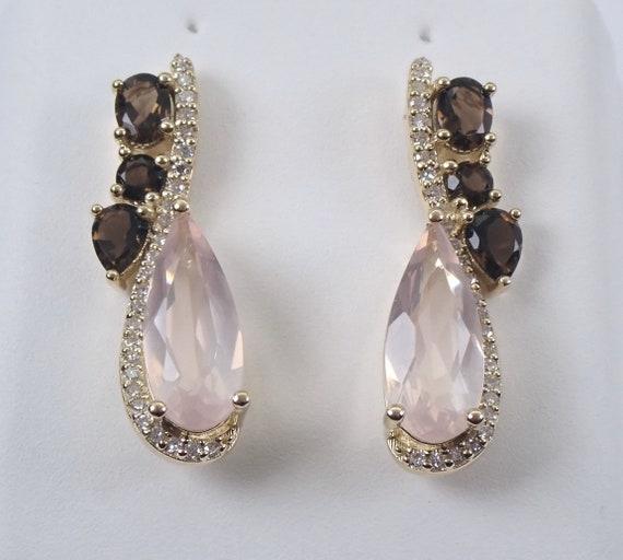 Rose Quartz Smokey Topaz Diamond Drop Earrings Yellow Gold Wedding Gift